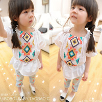 2014 children's clothing ruffle dress cute top shirt loose cool o-neck short-sleeve T-shirt