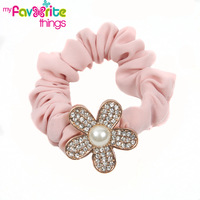 New Elastic Flower Beads Rhinestone Hairties Ponytail Holder Jewelry Hair Accessories For Women Girls Hair bands Free Shipping