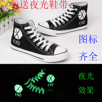 Free shipping Spring exo neon luminous hand-painted shoes canvas shoes female shoes plus size casual high-top shoes
