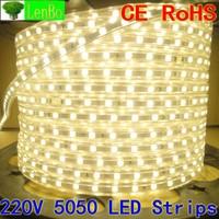 40M/LOT5050 led Strip 220V 60LEDs/M flexible waterproof Red/Yellow/Blue/White LED Light Strip +PLUG