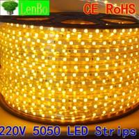 9m/lot Free shipping 5050 led Strip 220V 60LEDs/M flexible waterproof Red/Yellow/Blue/White LED Light Strip +PLUG