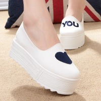 Free shipping Platform pedal canvas shoes female platform low-top shoes female shoes lazy casual shoes white