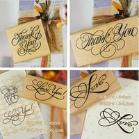 Minimum order $10 (Mix order) Free Shipping Vintage 5 designs style Thank you series stamp  Gift rubber and wood stamp