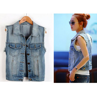 Free Shipping Women's Turn-down Collar Frayed Personalized Cardigans Denim Vest Lady Sleeveless Jeans Vest