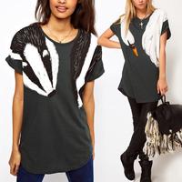 2014 New Hot Fashion Women Ladies Girls Spring Summer Penguin Fox Printed Short Sleeve T-Shirt Tshirt Tees Top Crew Neck Blouses