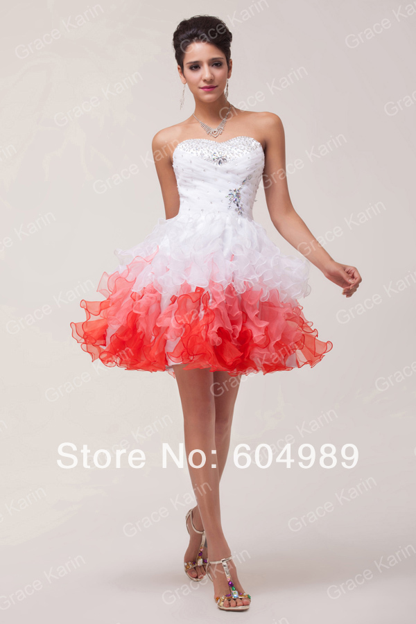 Short White And Red Bridesmaid Dresses Images