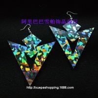 2014 new European and American Women's Fashion Luxury Exaggerated Big Earrings Laser Cool Nightclub Singer Rock Dangle Earrings