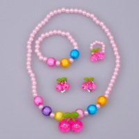 Kid's Sweet Cherry Pendant Jewelry Necklace Bangle Ring 4PC Jewelry Sets Lovely Light Beads Chains GirlsParty Accessories\