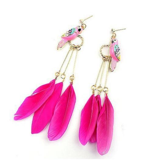 2014 novo venda quente moda exóticas vintage ouro liga azul rosa pena pássaro do amor leiothrix brincos para mulheres(China (Mainland))