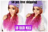 50 pcs/lot Harajuku Ombre color wig lolita corn hair wig hair with fluffy clip cosplay Afro wigs EMS Free Shipping