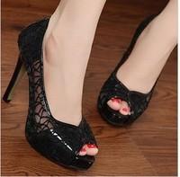 Summer women's shoes cutout open toe high-heeled shoes open toe gentlewomen lace gauze breathable thin heels sandals female