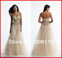 Sheath Crystal Beading Sequins Sweetheart Straps Long Tulle Evening Prom Dresses 2014 Hot Selling Formal Party Dress Gowns Cheap