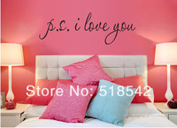 "Free Shipping:""PS I love You"" Vinyl Wall Quotes Stickers Home Art Wall Decals/PVC Removable Wall Stickers Room Decor 35*102CM"