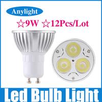 12Pcs/Lot 9W Gu10 dimmable 85-265v (110v/220v) CE Warm/Pure/Cold/White High Power LED Lamp/Spot lighting WSP06