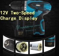 Two-Speed 12V Rechargeable Lithium Battery Indicator Waterproof LED Light Electric Drill Hand Drill With Charger Free shipping
