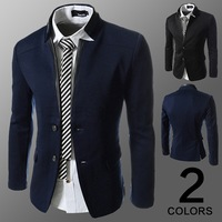 Men Vintage Suit Stitching Leather Blazers New 2015 Fashion Brand Mens Fitted Slim Black Blazer Casual Suits Navy Blue M-XXL