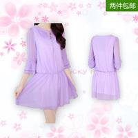 2014 summer fashion sweet one-piece dress solid color fifth sleeve medium  chiffon pleated  women's