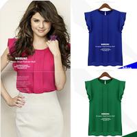 2014 spring fashion summer plus size loose short-sleeve top ruffled pleated sleeve chiffon shirt shirt female free shipping