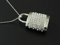 New Arrive 8G High Capacity Usb Flash Drive Lock Shape Pen Drive Made Of Metal and Rhinestone Magnificent Memory Card