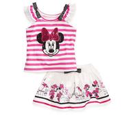 5pcs/lot new 2014 children summer clothing set,stripe kid girls minnie t shirts+cute cartoon mouse skirt,new cute children suits