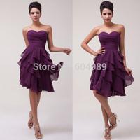 Free Shipping 1pc/lot Grace Karin A-line Sweetheart Knee-length Tiered Chiffon Cocktail Dresses, Grape Purple CL3439