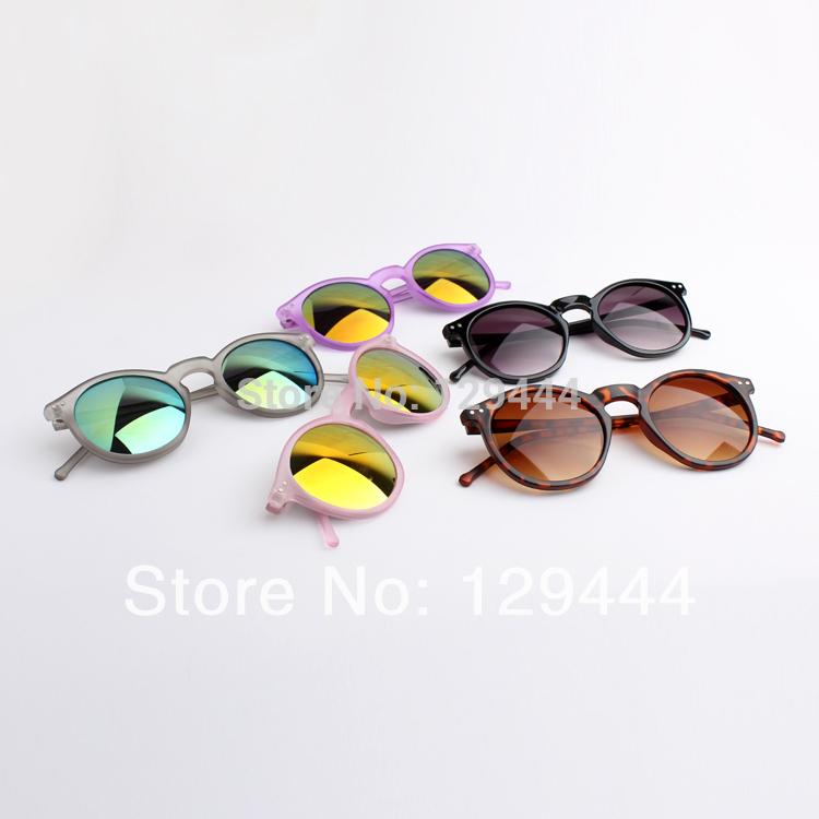 NEW Free Shipping Vintage Matte Transparent Frame Color Reflect Lens Round Sunglasses Women Men Unisex Super Cool UV400 Glasses(China (Mainland))