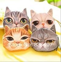 wholesale 20 pcs/lot fashion design women floral coin purse Big face cat case key small cat wallet., free shipping