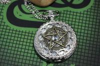Pentagram supernatural Pentacle pattern antique pocket watch steampunk gift