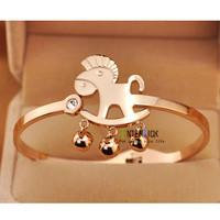 Guaranteed 100% New rose gold lovely horse bracelet fashion jewelry+ free shipping