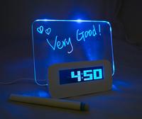 Blue LED background light Digital Alarm USB clock message board  Multiple USB interface