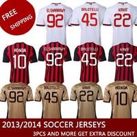 Best Thailand Quality AC milan jersey 13 14 camisetas de futbol kaka ac milan jersey HONDA Maglia ac milan Maglie di calcio