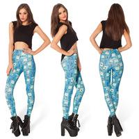 Montage Black AD003 Adventure Time Bro Ball Leggings 2014 Fashion New Women Digital Print Galaxy Pants plus size Free shipping