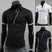 2014 Summer Unique Front Fly Color Block Men Fine Plaid Fashion Shirts