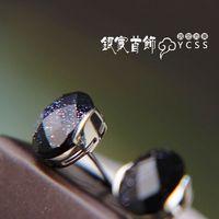 Laoyinjiang 925 Pure Silver Stud Earring Vintage Silver Age Purple Stone Stud Earring free Shipping
