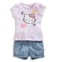 5pcs/lot new 2014 children summer clothing set, hello kitty cotton t shirts+denim shorts baby&kids girl stripe cartoon suits