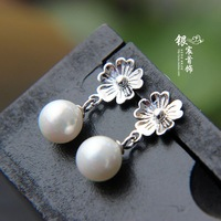 Silver jewelry LAOYINJIANG shell beads accessories 925 pure silver stud earring female small flower silver  earring