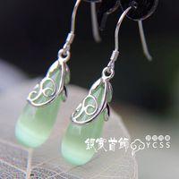 Silver jewelry vintage LAOYINJIANG 925 pure silver drop earring - eye drop tassel earrings silver  Free Shipping