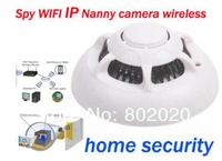 Dropshipping! 2014 hot sale Smoke Detector WiFi Wireless IP Camera Hidden Nanny Hidden Video Record UFO P2P 8GB TF Free