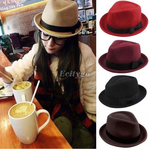2014 Fashion Style Men Ladies Wool Felt Panama Trilby Fedora Jazz Dance Bowler Hat Cap 5 Color(China (Mainland))