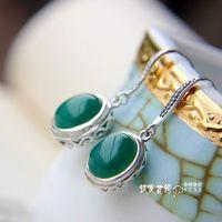 Silver jewelry LAOYINJIANG 925 pure silver - eye agate silver earrings vintage silver drop earring  Free Shipping