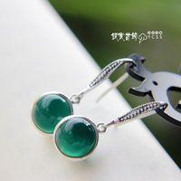 Silver jewelry LAOYINJIANG 925 pure silver vintage silver drop earring cat-eye green agate silver earrings  Free Shipping