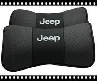 Free Shipping Fashion Classic Leather Car Neck Rest Cushion Headrest Full Punch Bamboo Carbon Pillows For Jeep Mat Pad one pair