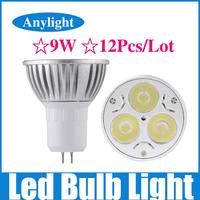 12Pcs/Lot 9W GU5.3 dimmable 85-265v (110v/220v) CE Warm/Pure/Cold/White High Power LED Lamp/Spot lighting WSP06