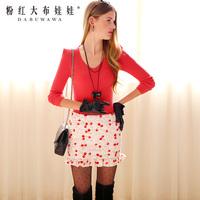 Lovable Secret - White female bust skirt red cherry ruffle low-waist half-length cotton skirt short skirt  free shipping