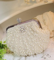 white wedding bag pearl beading bag women clutches handbags bridal bag ladies prom/party/shoulder/messenger bag