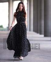 Retail Free Fashion Women's Polka Dots Maxi Long Casual Summer Beach Party Chiffon Dress,Big Size Women Sundress,2Colors