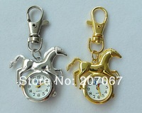 10pcs/lot cute horse Pendant watch Quartz Pocket watches Necklace Watches keychain for Womans ladies girls children mens boy H19