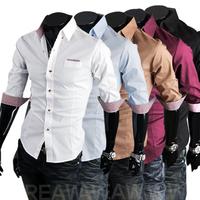 Summer 2014 Prettifier Plaid Color Block Brief Male Short-Sleeve Shirts