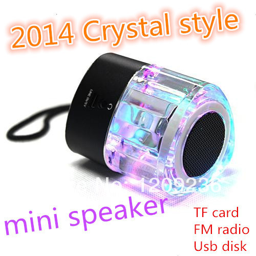 HOT LED Crystal Portable Active Mini Speaker support TF card and U disk with FM Radio mp3 player 20pcs/lot DHL free shipping(China (Mainland))