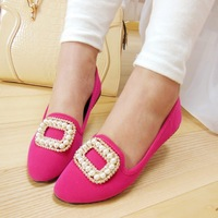 HOT 2014 NEW women's shoes ol princess shoes flat pearl casual rhinestone shoes pointed toe single shoes